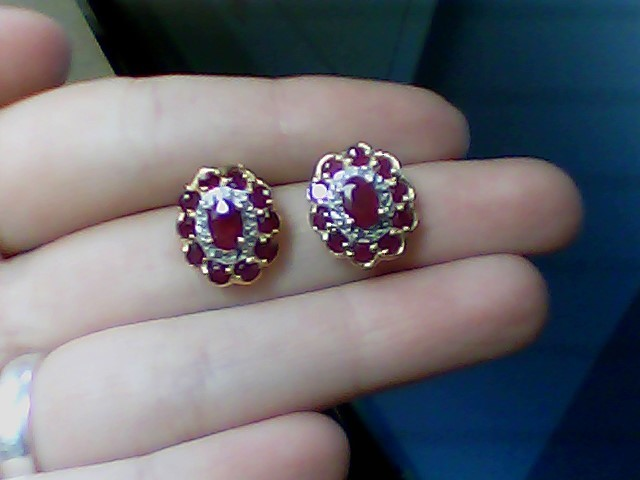 Ruby Gold-Diamond & Stone Earrings 24 Diamonds .24 Carat T.W. 14K Yellow Gold