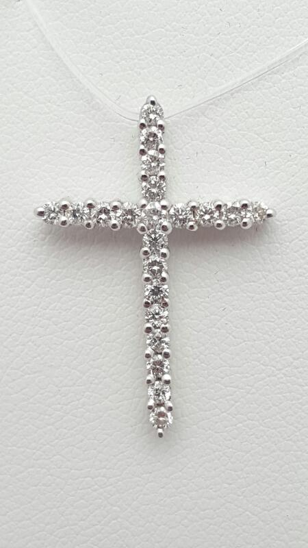 14kw Gold Diamond Cross Pendant 21 Round Diamonds .47 Carat T.W. 1.5g