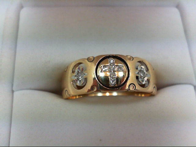 Gent's Gold-Diamond Wedding Band 8 Diamonds 0.1 Carat T.W. 14K Yellow Gold 5.9g