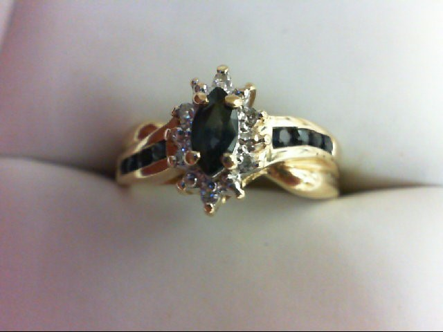 Sapphire Lady's Stone & Diamond Ring 6 Diamonds 0.06 Carat T.W. 10K Yellow Gold