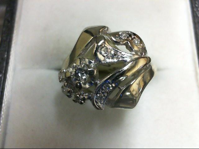 Lady's Diamond Fashion Ring 10 Diamonds 0.24 Carat T.W. 14K White Gold 4g