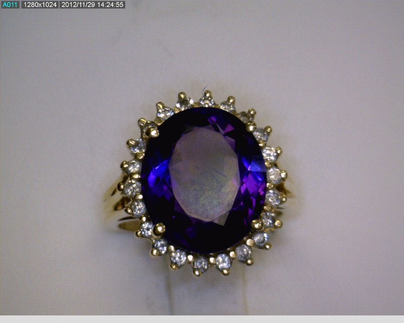 Amethyst Lady's Stone & Diamond Ring 21 Diamonds .42 Carat T.W. 14K Yellow Gold