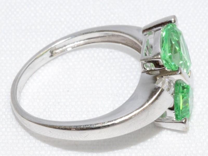 10K White Gold Trillion Cut Green Sapphire & Diamond Bypass Ring sz 7
