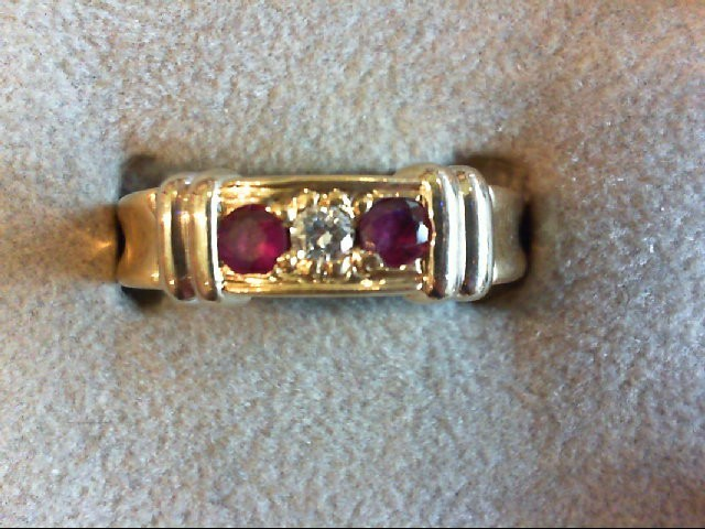 Ruby Gent's Stone & Diamond Ring .07 CT. 14K Yellow Gold 6.4g