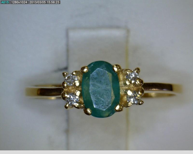 Emerald Lady's Stone & Diamond Ring 4 Diamonds .04 Carat T.W. 14K Yellow Gold
