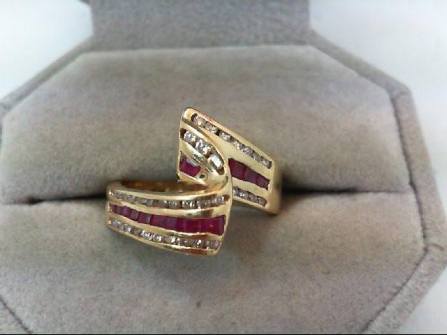 Ruby Lady's Stone & Diamond Ring 37 Diamonds .39 Carat T.W. 14K Yellow Gold