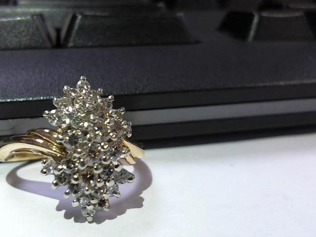 Lady's Diamond Cluster Ring 27 Diamonds .54 Carat T.W. 14K Yellow Gold 5g