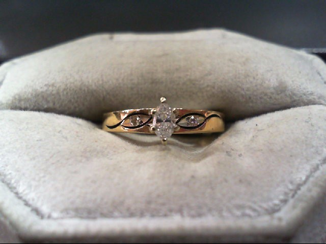 Lady's Diamond Engagement Ring 3 Diamonds .25 Carat T.W. 14K Yellow Gold 2g