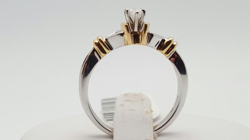 Lady's Diamond Engagement Ring 3 Diamonds .28 Carat T.W. 14K 2 Tone Gold 4.2g