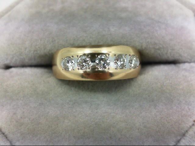 Lady's Diamond Wedding Band 5 Diamonds 0.5 Carat T.W. 14K Yellow Gold 5.3g Size:
