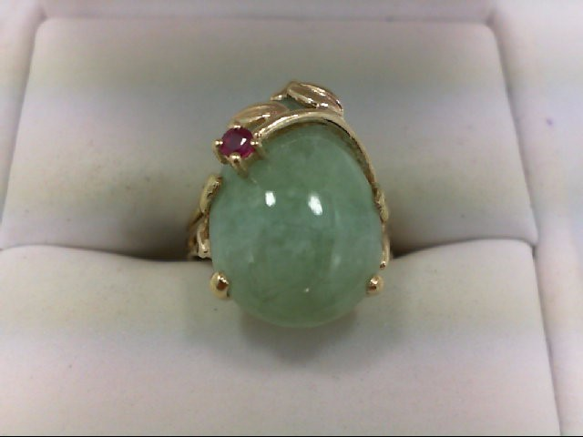 Jade Lady's Stone Ring 14K Yellow Gold 4.9g Size:5
