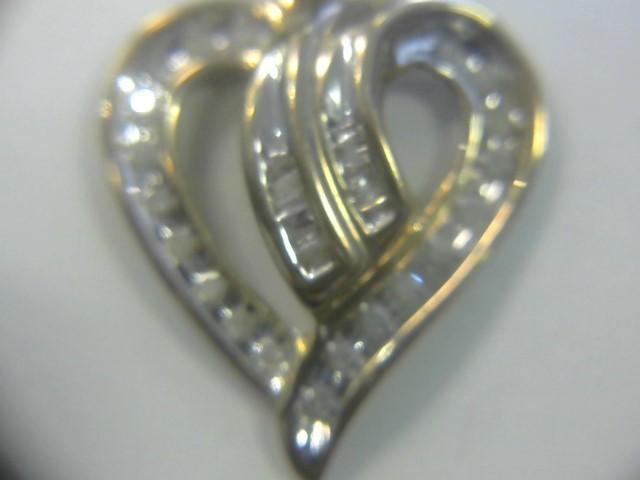 Gold-Multi-Diamond Pendant 30 Diamonds .30 Carat T.W. 10K 2 Tone Gold 1.3dwt