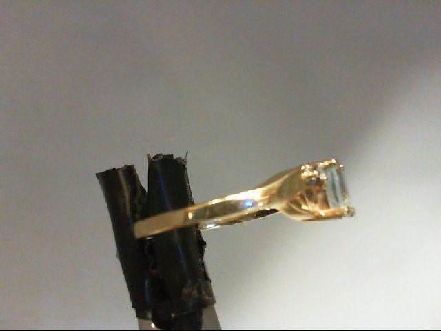 Aquamarine Lady's Stone & Diamond Ring 2 Diamonds 0.02 Carat T.W. 14K Yellow Gol
