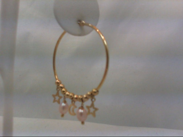 PEARL HOOP STARS & MOON BEAUTIFUL UNIQUE Gold Earrings 14K Yellow Gold 2.9g