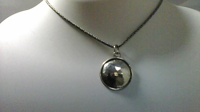 Lady's sterling silver 925 circle faith adjustable necklace