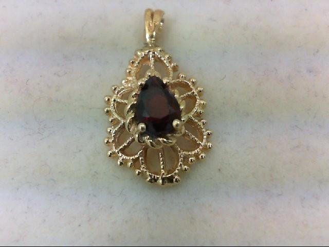 Almandite Garnet Gold-Stone Pendant 10K Yellow Gold 1.7g