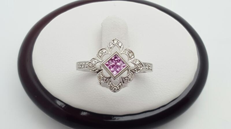 Lady's Pink Sapphire & Diamond Ring 26 Diamonds .22 Carat T.W. 14K White G