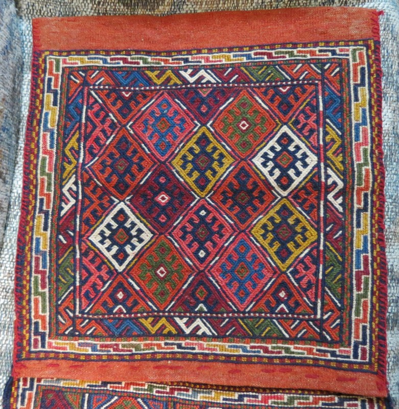 Turkish Tapestry Tribal Design Wool Saddlebags, Hand Woven & Knotted