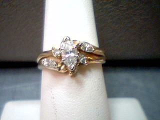 Lady's Diamond Wedding Set 7 Diamonds .60 Carat T.W. 14K Yellow Gold 5g