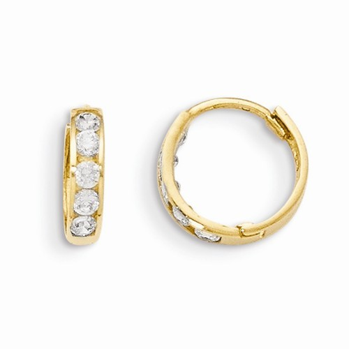 lady's 14k yellow gold madi k cz earrings