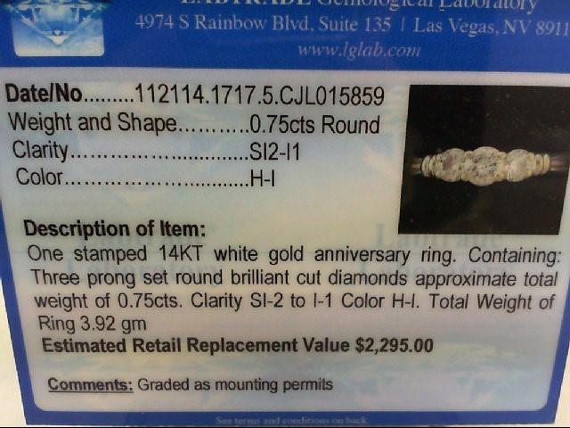 Lady's Diamond Wedding Band 3 Diamonds .75 Carat T.W. 14K White Gold 3.92g