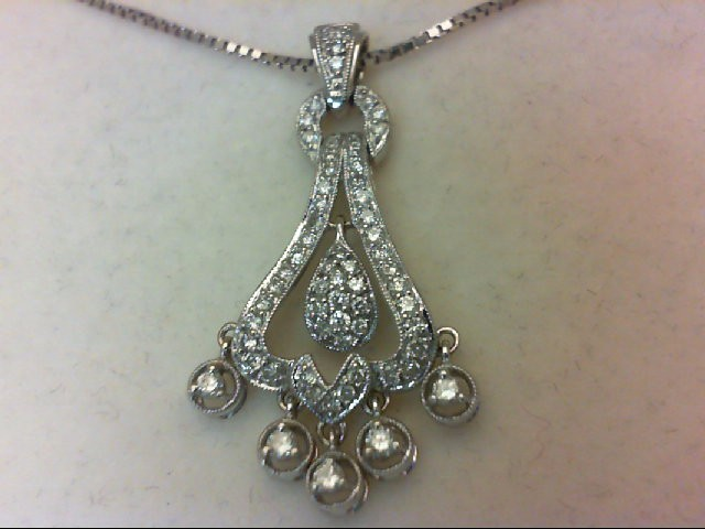 Gold-Multi-Diamond Pendant 62 Diamonds .75 Carat T.W. 14K White Gold 3.59g