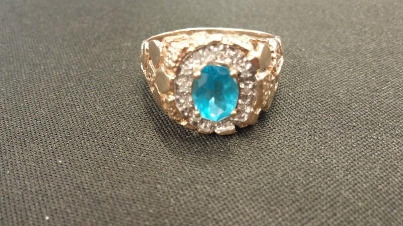Synthetic Blue Zircon Gent's Stone & Diamond Ring 12 Diamonds .12 Carat T.W.