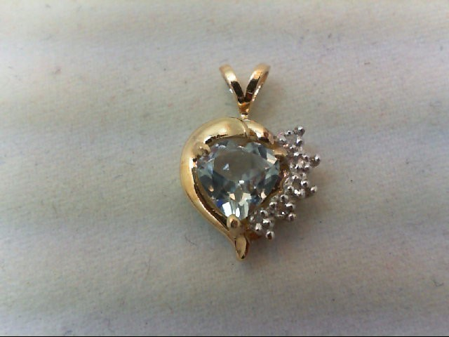 Aquamarine Gold-Diamond & Stone Pendant 10 Diamonds .10 Carat T.W.