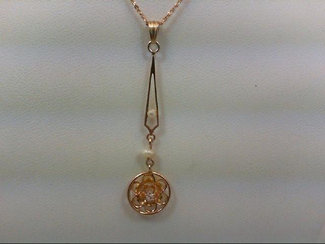 Gold-Diamond Solitaire Pendant .02 CT. 10K Yellow Gold 1g