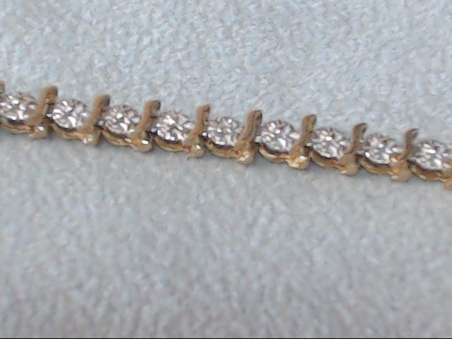 Gold-Diamond Bracelet 10 Diamonds .050 Carat T.W. 10K Yellow Gold 4.6g
