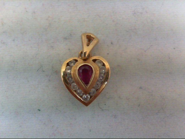 Ruby Gold-Diamond & Stone Pendant 11 Diamonds 0.11 Carat T.W. 14K Yellow Gold 1g