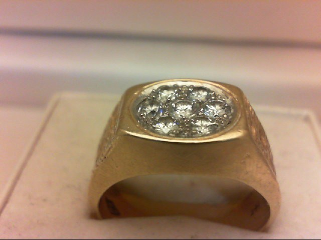 Gent's Diamond Cluster Ring 7 Diamonds .50 Carat T.W. 14K Yellow Gold 11.47g