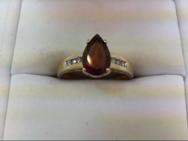 Almandite Garnet Lady's Stone & Diamond Ring 6 Diamonds 0.12 Carat T.W. 10K Yell