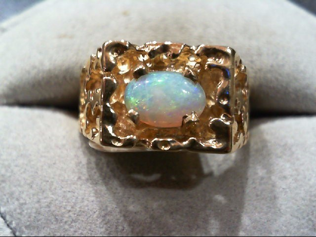 Opal Gent's Stone Ring 14K Yellow Gold 8g Size:9.5