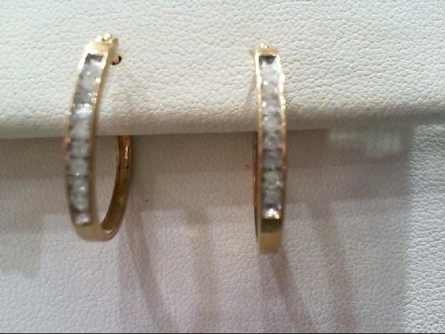 Gold-Diamond Earrings 18 Diamonds .18 Carat T.W. 10K Yellow Gold 2g