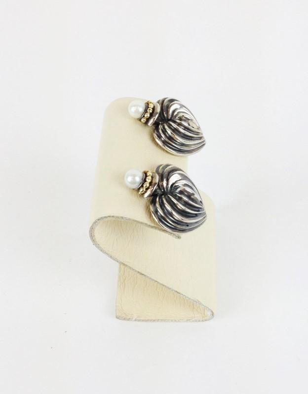 David Yurman Sterling Silver 18kt Pearl  Earrings 925 Silver 17.64g