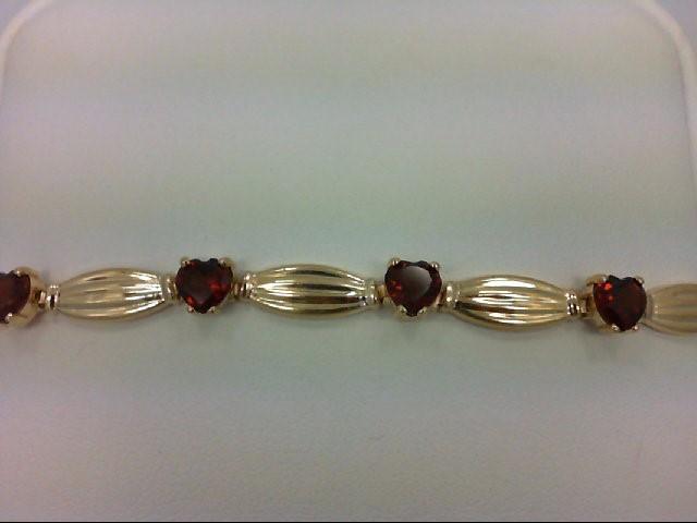 Almandite Garnet Gold-Stone Bracelet 10K Yellow Gold 4.7g