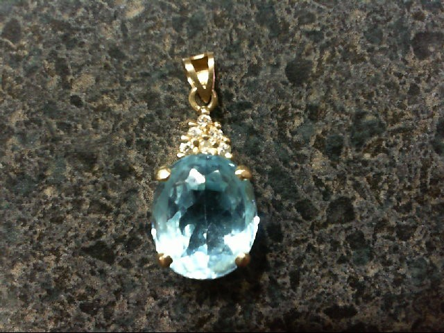 Blue Topaz Gold-Diamond & Stone Pendant 6 Diamonds .06 Carat T.W.