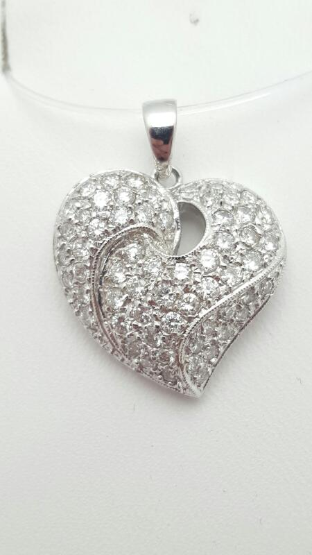 18kw Pave Heart Pendant 86 Round Diamonds .86 Carat T.W. 18kw 3.5g