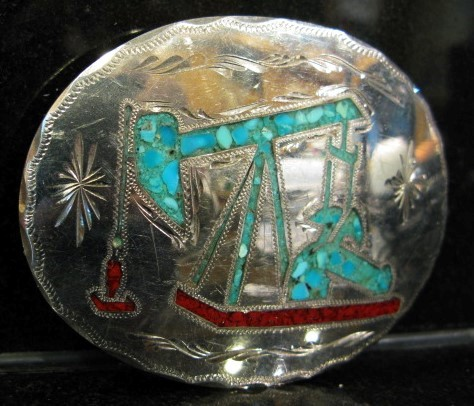 R&B of Denver, Colorado Hand Crafted German Silver Oil Well Belt Buckle