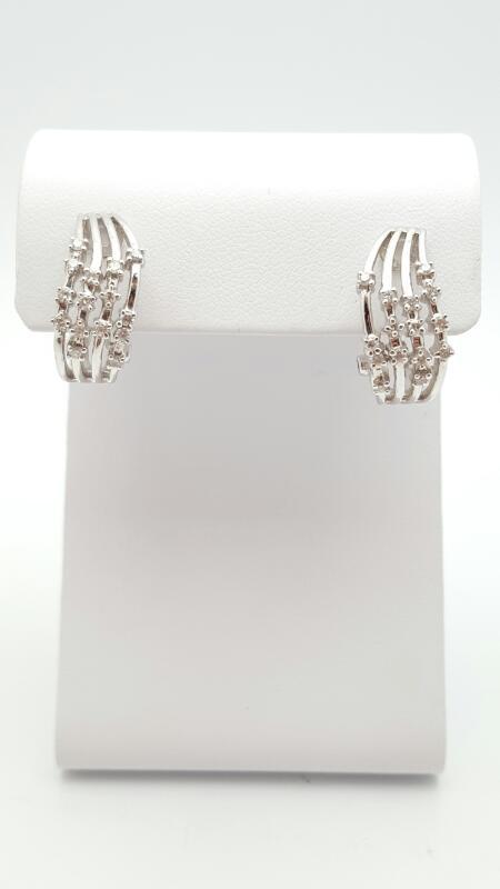 Gold-Diamond Earrings 39 Diamonds .39 Carat T.W. 18K White Gold 6.7g