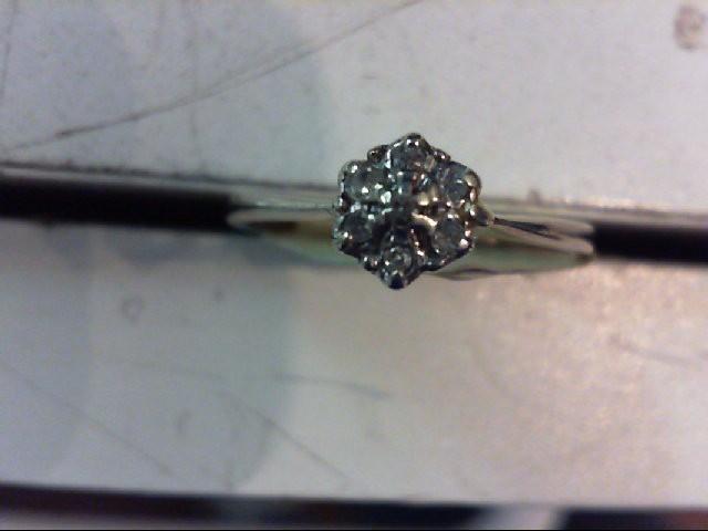 Lady's Diamond Cluster Ring 6 Diamonds .06 Carat T.W. 10K White Gold 1.8g