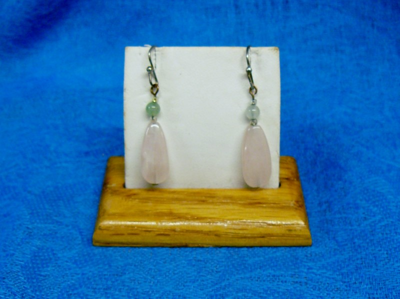 Pink Stone Silver-Stone Earrings Silver Plate 2.4dwt