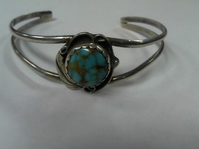 Synthetic Turquoise Silver-Stone Bracelet 925 Silver 11g