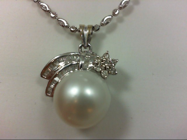 Pearl Gold-Diamond & Stone Pendant 39 Diamonds .78 Carat T.W. 18K White Gold