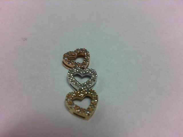 Gold-Multi-Diamond Pendant 30 Diamonds .30 Carat T.W. 10K Tri-color Gold 1.6g