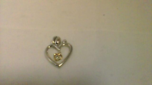 Silver-Diamond MOM AND CHILD HEART Pendant .01 CT. 925 Silver 1.9g