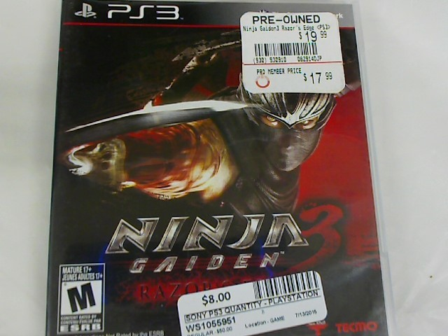 NINJA GAIDEN 3-PS3 GAME