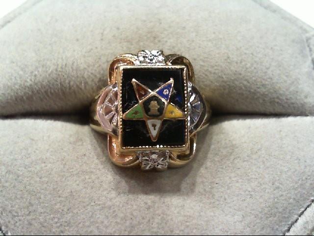 Beautiful Little Ladies Yellow Gold Onyx Lady Mason Eastern Star Ring 14K 3g