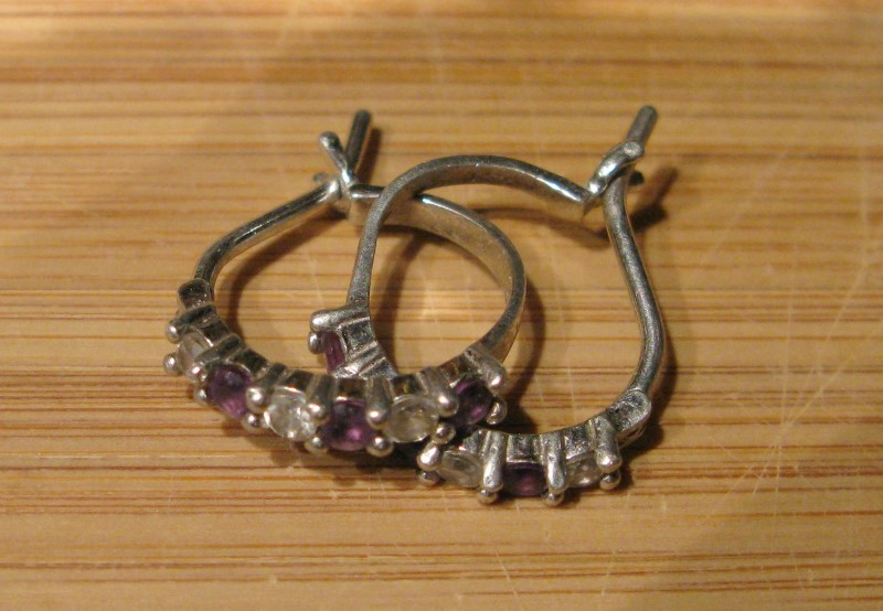 White Stone/Amethyst Silver-Stone Enclosed Hoop Earrings 925 Silver 1.6dwt